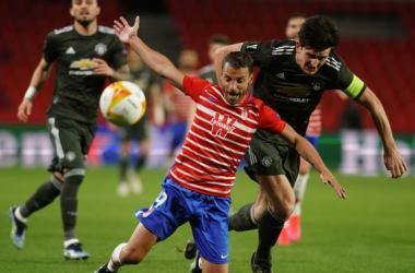 Imagen del encuentro de ida entre Granada CF y Manchester United en Los Cármenes | Foto: Pepe Villoslada / Granada CF