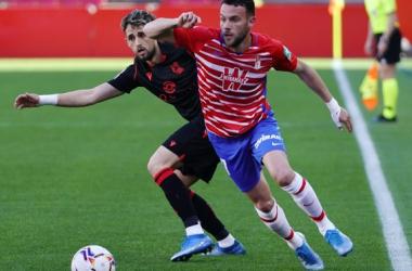 Imagen del último encuentro entre Granada CF y Real Sociedad en Los Cármenes | Foto: Pepe Villoslada / Granada CF