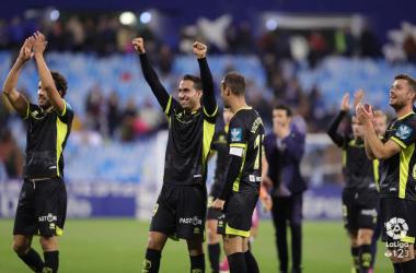 Los jugadores del Granada CF celebran la victoria en La Romareda. Foto: La Liga