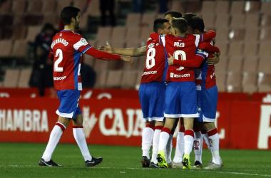 Los jugadores del Granada CF celebran un gol ante el Elche CF / FOTO: Granada CF - Pepe Villoslada