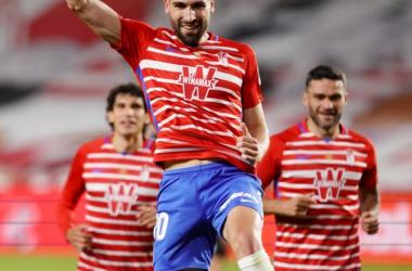 Jugadores del Granada CF celebrando un gol esta temporada | Foto: Pepe Villoslada / Granada CF