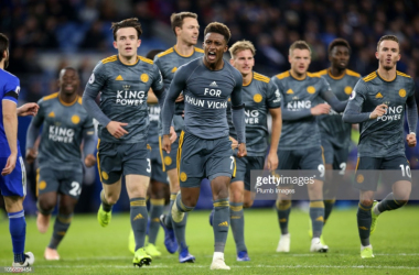Demarai Gray celebrates his winning goal in Cardiff | Photo: Getty/ Plumb Images