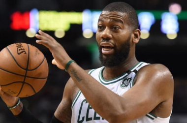 Boston Celtics center Greg Monroe (55) reacts after a call during the second half against the Chicago Bulls at TD Garden. |Bob DeChiara-USA TODAY Sports|