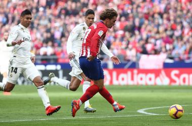 Griezmann anotando el momentáneo empate a uno. Foto: Web oficial Atlético de Madrid