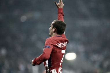 Antoine Griezmann celebrando un tanto en Lyon | Foto: Atlético de Madrid
