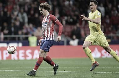 Griezmann finalizando de vaselina en el 2-0. Fuente: Atlético de Madrid.