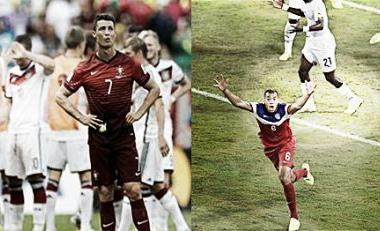 Desilusão de Ronaldo contrasta com alegria de Brooks (Fotos: AFP e Reuters)