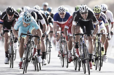 Guardini rounds Tom Boonen to win the first stage in Oman. (Image: Tim De Waele/Velonews)