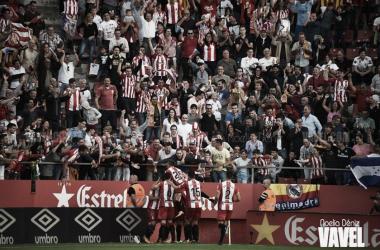 Jugadores del Girona celebrando su gol ante el Real Madrid   Foto: Noelia Déniz (Vavel)
