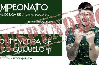 Pontevedra - Guijuelo, suspendido. Foto: CD Guijuelo