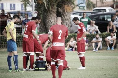 Guirao en el momento de caer lesionado | Foto: FC Cartagena
