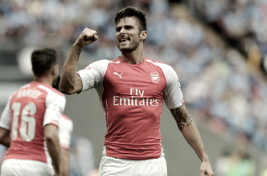 Olivier Giroud celebrando un gol con el Arsenal (web Arsenal oficial)