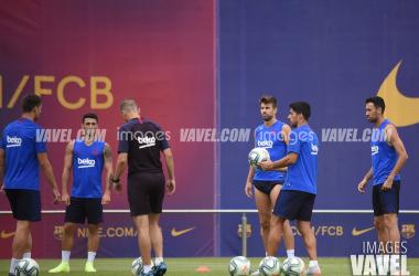 El Barça, durante un entrenamiento de esta pretemporada. FOTO: Noelia Déniz