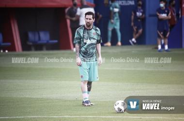Leo Messi en el calentamiento antes de un partido. | Foto: Noelia Déniz
