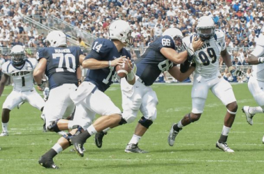 Christian Hackenberg drops back to fire a pass on Saturday afternoon. Penn State/Patrick Mansell