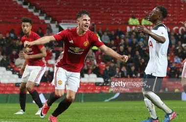 Josh Harrop will be involved with the first-team on Sunday after scoring a hat-trick in front of Mourinho playing for the under-23s last Monday | Photo: John Peters/Manchester United