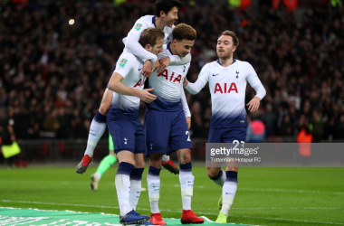 Spurs celebrate their goal via Getty Images
