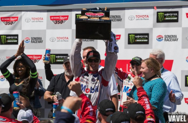 Kevin Harvick celebrates in Victory Lane after winning the Toyota/Save Mart 350 at Sonoma | Picture Credit: Brandon Farris