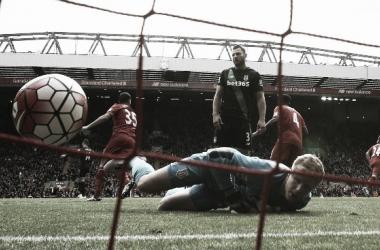 Haugaard looks on as Liverpool score. Photo: Teamtalk