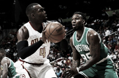 Atlanta's Paul Millsap drives past Boston's Jae Crowder. | Kevin C. Cox