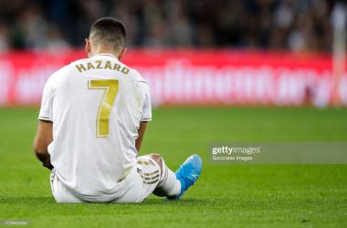 Eden Hazard of Real Madrid during the La Liga Santander match between Real Madrid v Real Betis Sevilla at the Santiago Bernabeu on November 2, 2019 in Madrid Spain (Photo by David S. Bustamante/Soccrates/Getty Images)