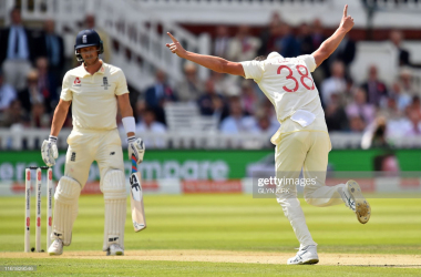 Hazlewood celebrates one of his three wickets (photo: Getty Images)