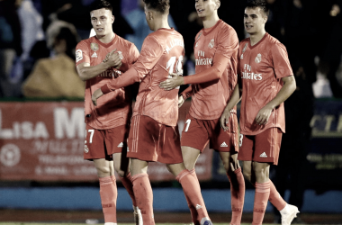 Javi Sánchez, Llorente, Reguilón y Cristo celebran el cuarto gol | Foto: Realmadrid.com