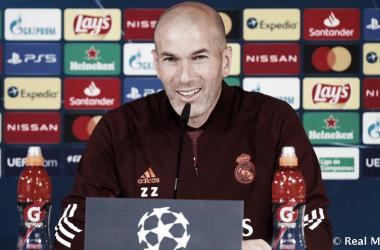 Zidane en la rueda de prensa previa al partido contra el Liverpool. Fuente: Real Madrid