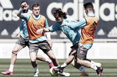 Imagen del entrenamiento del viernes. Fuente: Real Madrid