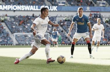 Lucas Vázquez en el partido frente al Rangers. Fuente: Real Madrid.