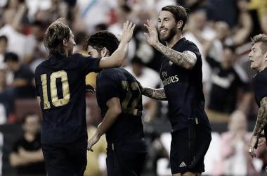 Los jugadores celebran un tanto /Foto: Real Madrid C.F
