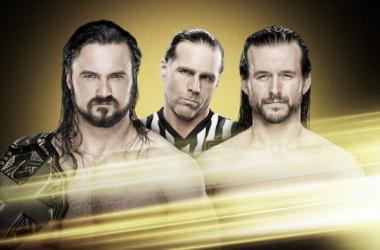 Imagen del combate en exclusiva entre Drew McIntyre y Adam Cole con Shawn Michaels como árbitro especial | Fuente: WWE