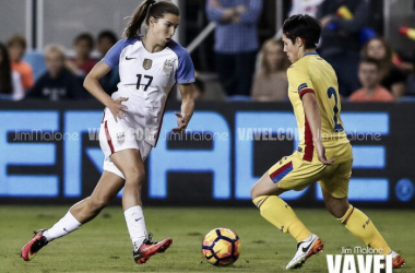 Tobin Heath in a game against Romania | Source: Jim Malone - VAVEL USA