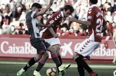 Manu Barreiro y Sebas en una acción de partido. Foto: LA LIGA.