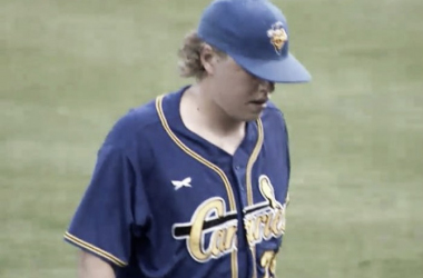 Bo Hellquist threw great for Sioux Falls, going a strong seven innings. (Screenshot captured via americanassociationbaseball.tv)