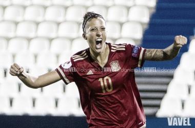 Jennifer Hermoso celebrando uno de los goles con la selección española | Foto: Daniel Nieto - VAVEL