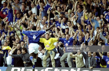 Emile Heskey celebrates after scoring a goal for Leicester City | Photo: Getty/ Graham Chadwick
