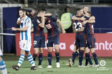 Los jugadores de la SD Eibar celebran uno de los goles en la J3 de La Liga Santander 2018/2019 (FOTO://LaLiga)