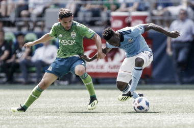 Roldan (left) and Ofori (right) battling in the first half. | Photo: New York City FC