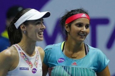Martina Hingis (left) and Sania Mirza are all smiles after winning their 39th straight match/Photo: St.Petersburg Ladies Trophy