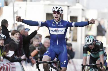 Hodeg celebrando la victoria conseguida | Foto: Tim de Waele - Quick-Step