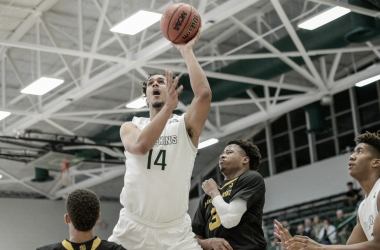 Jace Hogan drives to the hoop in Jacksonville's victory over Kennesaw State on Monday/Photo: Jacksonville athletics website