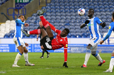 Barnsley's Daryl Dike scores a spectacular winning goal at Huddersfield Town. Photo: Alex Livesey/Getty Images.