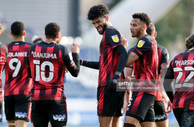 Bournemouth's Philip Billing celebrates his early goal against former club Huddersfield Town. Photo: Robin Jones/AFC Bournemouth/Getty Images.