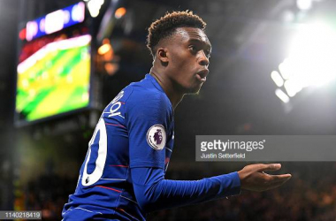 Hudson-Odoi in action against Brighton. Image courtesy of Justin Setterfield on Getty Images.