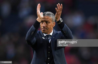 Hughton applauding the Brighton faithful after the defeat to Manchester City at Wembley. Image courtesy of Mike Hewitt on Getty Images.
