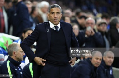 Chris Hughton on the sidelines at The Amex picture via Getty Images.