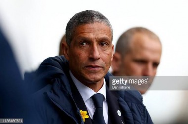 Chris Hughton on the dugout at the Lions Den. Image courtesy of Dan Istitene on Getty Images.