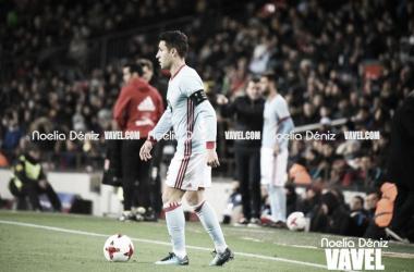 Hugo Mallo en Copa del Rey ante el Barça en el Camp Nou | Foto: Noelia Déniz - VAVEL