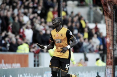 Mohamed Diame celebrates his goal just before half time. (Credit: Hull Daily Mail)